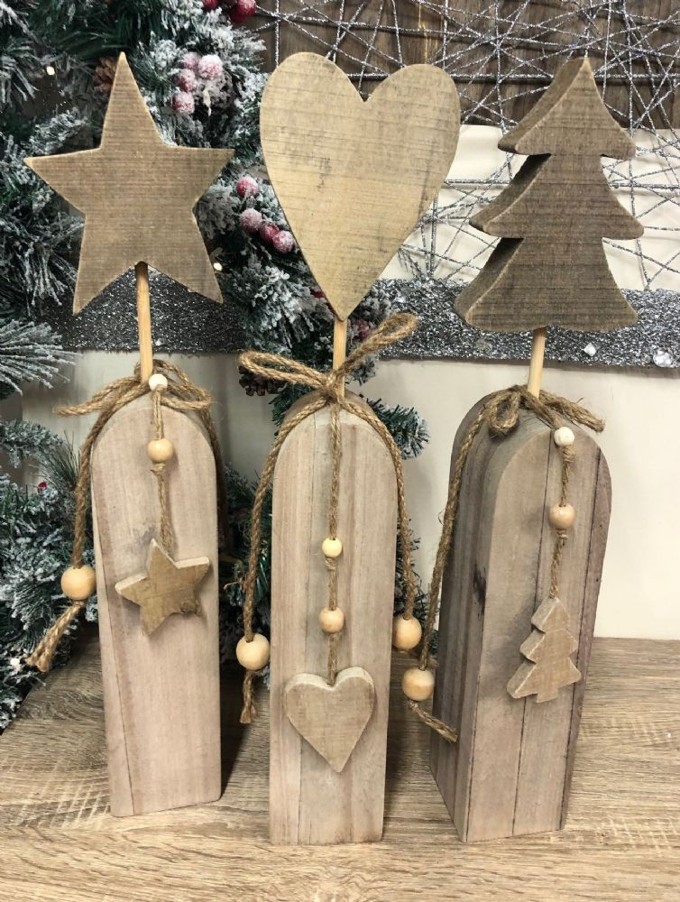 Christmas Tree Natural Wood Finish Large Wooden Decoration